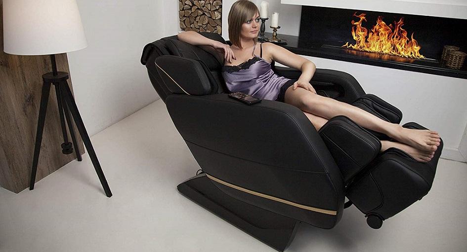 HOMCOM Poltrona Dondolo da Massaggio Poltrona Massaggiante Reclinabile Girevole a 360/°in Simipelle 84 x 92 x 109cm Nero